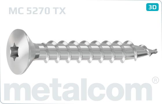 Chipboard screws hexalobular internal drive (TORX) raised countersunk head