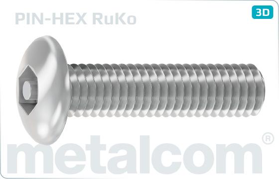 Śruby zabezpeczające z niskim łbem zaoblonym i sześciokątem wewnętrznym - RuKo