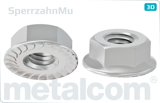 Hexagon nuts with flange and teeth (Sperrzahn)