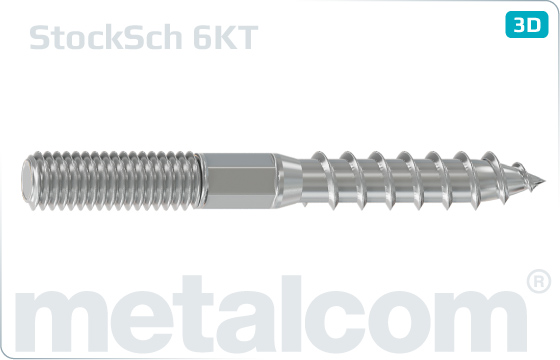 Wood-metal dowel screws with hexagon shank