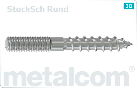Wood-metal dowel screws with rolled shank