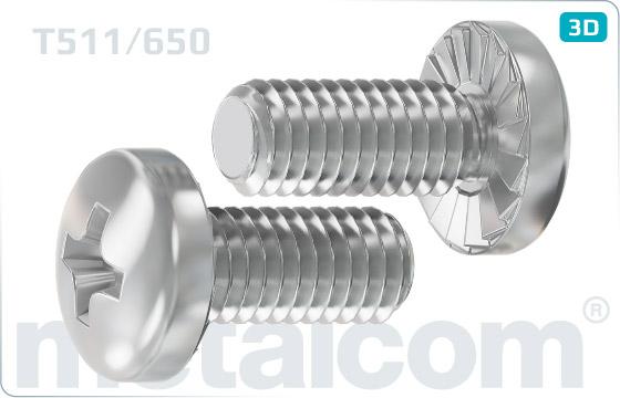 Śruby z nacięciem krzyżowym z łbem półkulistym karbowanym - T511/650