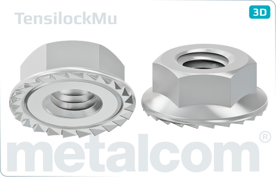 Hexagon nuts with flange and teeth (Tensilock)