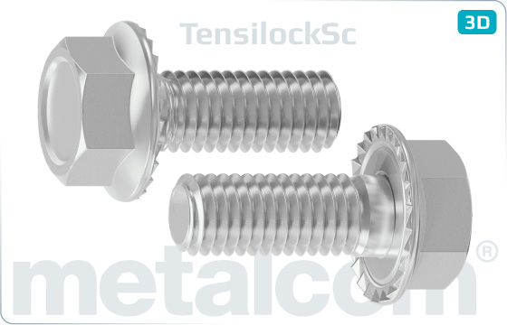 Hexagon self locking flange bolts with teeth (Tensilock)