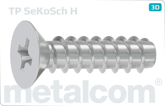 Screws for plastics cross H recessed countersunk head - H
