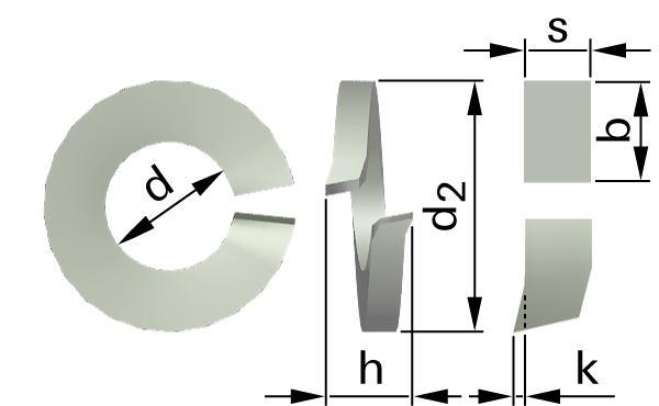 Podložky pružné s obdélníkovým průřezem (vyhnuté konce)