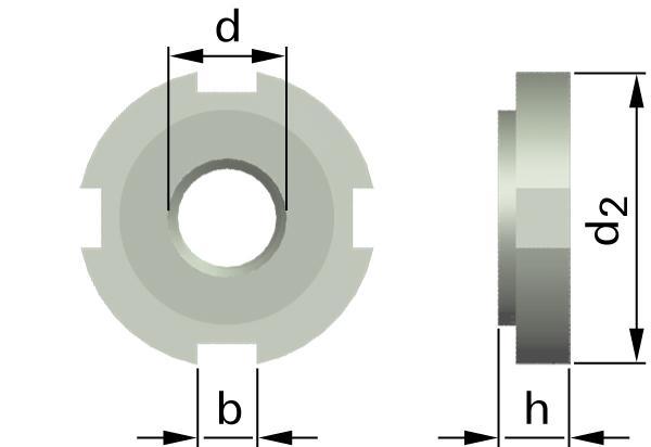 Matice s drážkami pro hákové klíče (W-netvrzené, nebroušené)