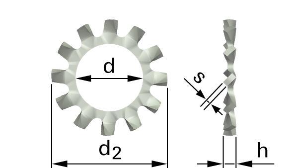 Podložky ozubené s vnějším ozubením