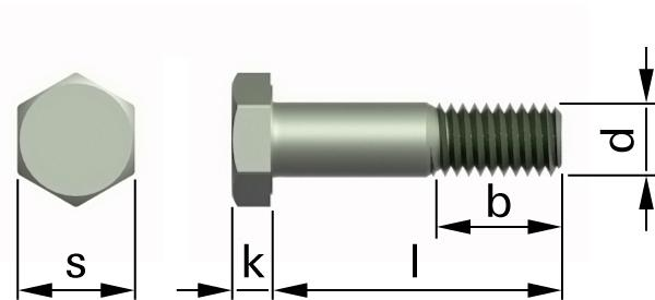 Hexagon head bolts with large head