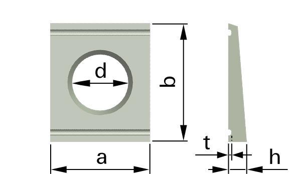 Podložky čtyřhranné pro U konstrukce HV