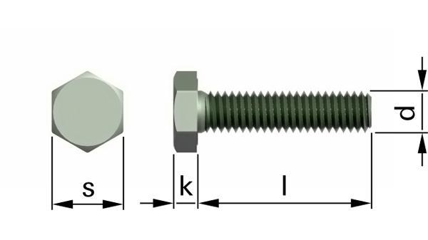 Šrouby se šestihrannou hlavou a jemným metrickým závitem k hlavě