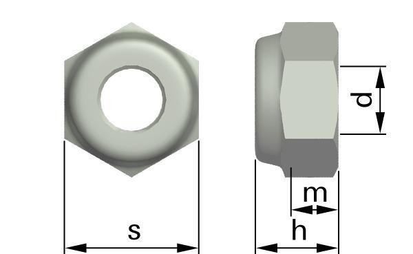 Matice šestihranné samojistné s nekovovou vložkou (nízké)