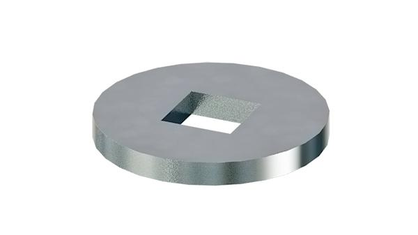 Plain washers round for wood constructions with square hole