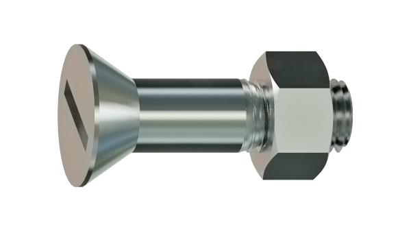 Slotted screws with countersunk head for steel structures