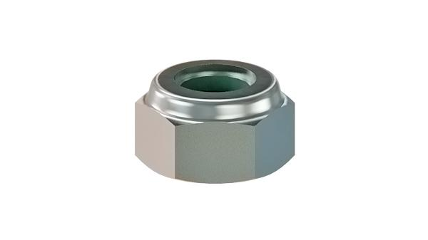 Hexagon nuts prevailing torque type, low with nylon insert