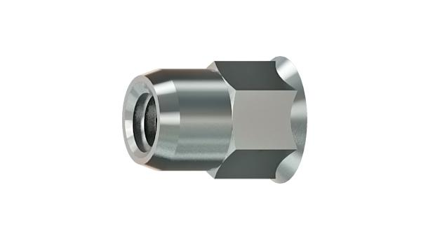 Threaded inserts reduced head and partiallyhexagonal shank