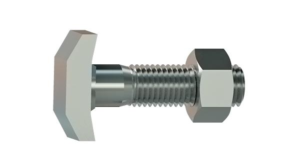 T-head bolts for Halfen channels type 40/22 with hexagon nut
